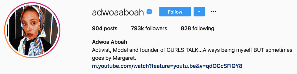 @adwoaaboah top instagram models