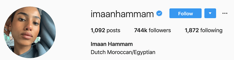 @imaanhammam top instagram models