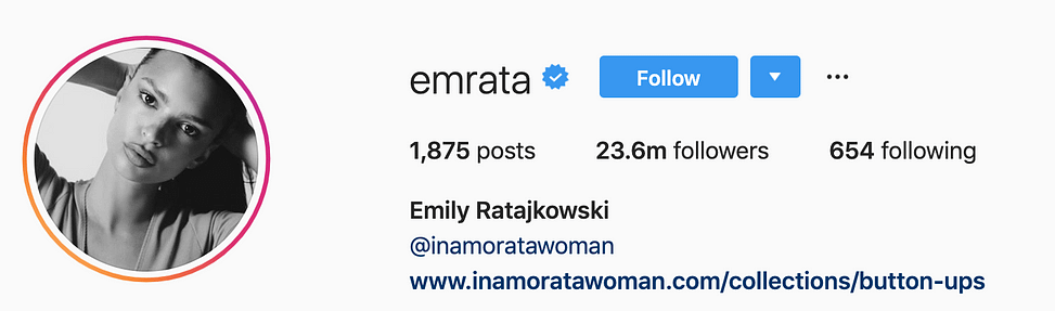 @emrata top instagram models