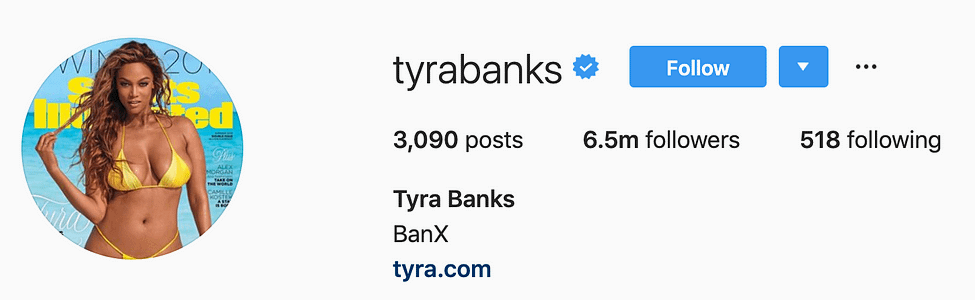 @tyrabanks top instagram models