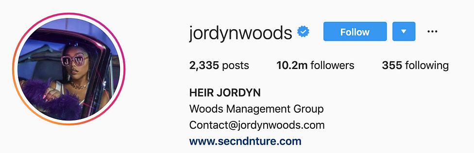 @jordynwoods top instagram models