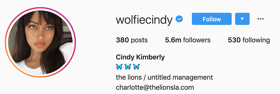 @wolfiecindy top instagram models