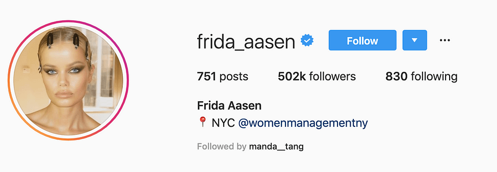 @frida_aasen top instagram models