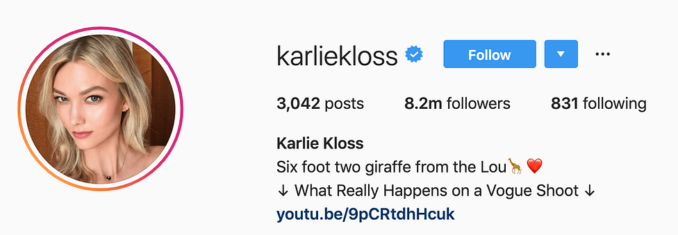 @karliekloss top instagram models