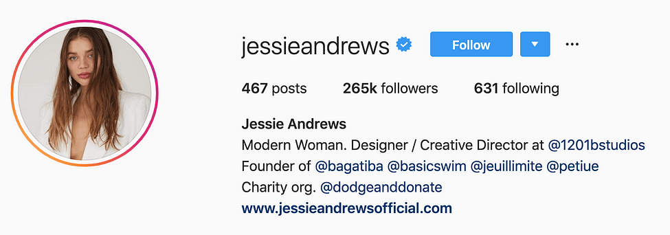 @jessieandrews instagram models